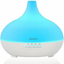 Tepoinn 300ml Aroma Diffusor Luftbefeuchter Ultraschall mit LED Farbwechsel Duftzerstäuber Humidifier Essential Oil Diffuser Purifier für Babies Kinder Haus Yoga Büro Spa - Weiß (300ml)