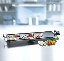 Teppan-Yaki-Grill Tischgrill Teppan-Yaki Elektro-Grill mit herausnehmbarem Fettauffangbehälter (leistungsstarke 1800 Watt, antihaftbeschichtete Grillfläche, gesundes + kalorienbewusstes Grillen)
