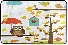 Teppich 23,6 x 15,7 Zoll Vogel Baum Eule Pilz