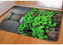 Teppich 3D Persönlichkeitsdruck Badezimmer Wasserabsorption Anti-Rutsch Schlafzimmer Türmatten Fußpolster Heimtextilien 40 * 60cm , 3
