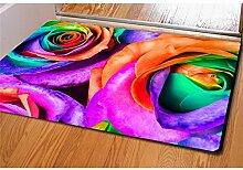 Teppich 3D Rosen Persönlichkeitsdruck Flanell Rechteck Fußauflage Türmatten Schlafzimmer Wohnzimmer Dekoration 40 * 60CM / Packung von 2 , 2