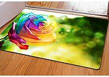 Teppich 3D Rosen Persönlichkeitsdruck Flanell Rechteck Fußauflage Türmatten Schlafzimmer Wohnzimmer Dekoration 40 * 60CM / Packung von 2 , 13