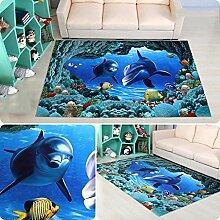 Teppich 3D Teppich Cartoon Wohnzimmer Schlafzimmer Teppichboden Quadrat (80 * 80cm) ( Farbe : A , größe : 100*100cm )