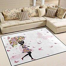 Teppich 63x48 Zoll Blumenmädchen mit Regenschirm