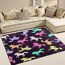 Teppich 63x48 Zoll Cartoon Unicorn Retro für