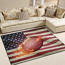 Teppich 63x48 Zoll Feuer American Football mit