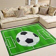 Teppich 63x48 Zoll Fußballplatz mit Linien Sport