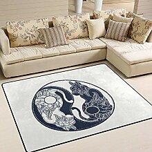 Teppich 63x48 Zoll Kätzchen Katze Yin Yang