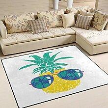 Teppich 63x48 Zoll Sommer Cool Ananas mit Brille