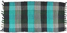 Teppich 70x140 cm - Baumwoll Teppich - Flickenteppich - Läufer - Fleckerlteppich mit Farbauswahl (grau/grün)
