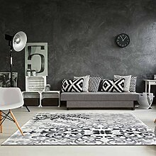 Teppich Acryl Hochwertig Flachflor Gemustert Floral Ornament Klassisch Grau Größe 80/300 cm