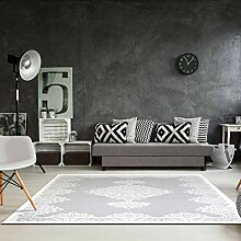 Teppich Acryl Hochwertig Flachflor Gemustert Ornamente Klassisch Mäander Grau Größe 120/180 cm