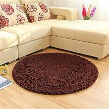 Teppich Art und Weise runder Wolldecke Wohnzimmer Decke Sofa Kaffeetisch Teppich Nachttuch Kinderzimmer Teppich, Braun ( größe : 120*120cm )
