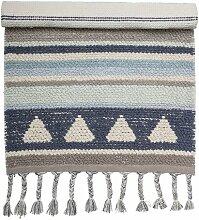 Teppich aus Baumwille in Blau/Grau/Beige