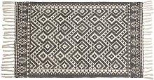 Teppich aus Baumwolle in Schwarz und Weiß mit
