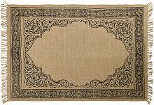 Teppich aus beigefarbener Jute mit schwarzem
