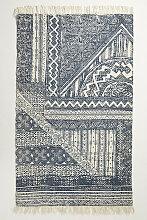 Teppich aus Jute mit Linienmuster - Navy