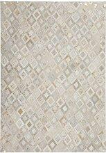 Teppich aus kurzem Echtfell Creme Weiß und