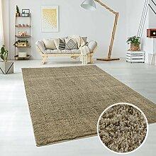 Teppich aus Micro-Polyester Hochflor Langflor, Soft/Samtweicher Flor, Einfarbig/ Uni in Taupe, für Wohn- oder Schlafzimmer, Größe: 80 x 150 cm