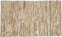 Teppich aus Vacheleder, goldfarben und beige 60x90