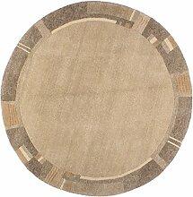 Teppich Basic Natura rund Indien ca. 200 x 200 cm · Grau · handgeknüpft · Schurwolle · Modern · hochwertiger Teppich · 16058