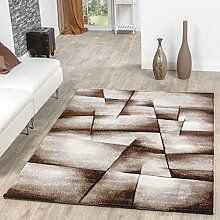 Teppich Beige Braun Wohnzimmer Teppiche Madeira Karo Konturenschnitt AUSVERKAUF, Größe:80x150 cm
