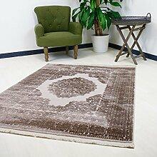Teppich Beige Vintage Design für Wohnzimmer Qualitativ mit Medaillon Muster Kurzflor mit Hoch Tief Struktur (200 x 290 cm)
