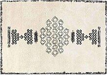Teppich Berber-Style aus Wolle Schwarz und Weiß