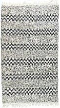 Teppich Berlin aus Baumwolle in Schwarz/Weiß