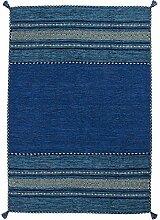 Teppich Blau 100% Baumwolle Gesamthöhe ca. 8 mm