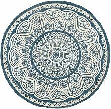 Teppich Blau Beige 120 x 120 cm Kurzflor