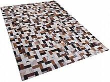 Teppich braun-beige - 160x230 cm - Ledertteppich - Kuhfell - CESME