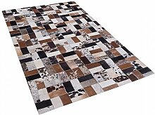 Teppich braun-beige - 80x150 cm - Ledertteppich - Kuhfell - CESME