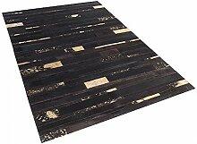 Teppich Braun-Gold - 140x200 cm - Patchwork - Lederteppich - Kuhfell - Läufer - ARTVIN