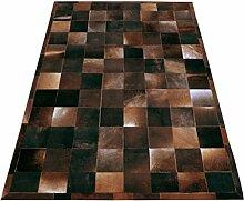 Teppich bunt karriert 200 x 300 cm Kuhfell