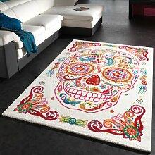 Teppich Bunter Totenkopf Moderner Designer Teppich Skelett Kopf Multicolour, Grösse:200x290 cm