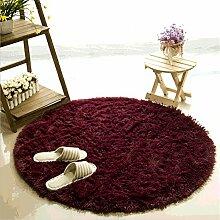 Teppich, CAMAL Runde Seide Wolle Material Yoga Teppich für Wohnzimmer Schlafzimmer und Bad (120cm, Rotwein)