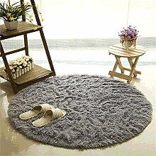 Teppich, CAMAL Runde Seide Wolle Material Yoga Teppich für Wohnzimmer Schlafzimmer und Bad (140cm, Grau)