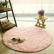 Teppich, CAMAL Runde Seide Wolle Material Yoga Teppich für Wohnzimmer Schlafzimmer und Bad (100cm, Rosa)