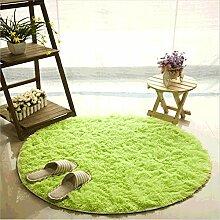 Teppich, CAMAL Runde Seide Wolle Material Yoga Teppich für Wohnzimmer Schlafzimmer und Bad (80cm, Fruchtgrün)