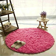 Teppich, CAMAL Runde Seide Wolle Material Yoga Teppich für Wohnzimmer Schlafzimmer und Bad (140cm, Rose Rot)