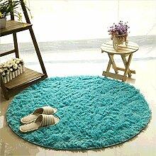 Teppich, CAMAL Runde Seide Wolle Material Yoga Teppich für Wohnzimmer Schlafzimmer und Bad (100cm, Blau)