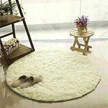 Teppich, CAMAL Runde Seide Wolle Material Yoga Teppich für Wohnzimmer Schlafzimmer und Bad (200cm, Milch Weiß)