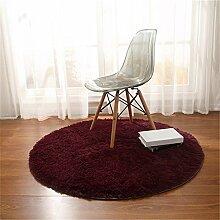 Teppich, CAMAL Runde Seide Wolle Material Yoga Teppich für Wohnzimmer Schlafzimmer und Bad (Rotwein, 200cm)