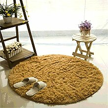 Teppich, CAMAL Runde Seide Wolle Material Yoga Teppich für Wohnzimmer Schlafzimmer und Bad (120cm, Khaki)