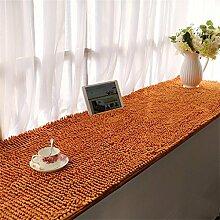 Teppich Chenille verdickte Bucht-Fenster-Matten-Balkon-rutschfeste Fuß-Wolldecke-Nachttisch-Fußboden-Matten Lebensmittel ( Farbe : Gelb , größe : 90*210cm )