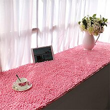 Teppich Chenille verdickte Bucht-Fenster-Matten-Balkon-rutschfeste Fuß-Wolldecke-Nachttisch-Fußboden-Matten Lebensmittel ( Farbe : Pink , größe : 90*210cm )