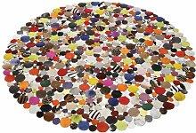 Teppich Circle Multi Ø150cm, runder, gewebter Flickenteppich aus Kuhfell/Ziegenleder, weicher, bunter  Lederteppich mit modernen Design Muster