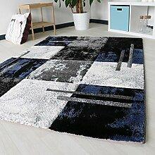 Teppich Designer in Blau mit Konturenschnitt handcarving Modern in hochwertiger Webung, verschiedene Größen mit Öko-Tex Zertifizierung (160cm x 230cm)