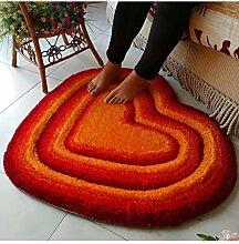 Teppich Einfache herzförmige dicke Teppich Moderne Sofa Couchtisch Teppich Kreativ rutschfeste Türmatten Wohnzimmer Halle Schlafzimmer Teppich Shaggy Teppich ( Farbe : C , größe : 70*80CM )